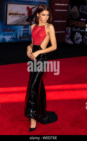 Los Angeles, CA - June 26, 2019: Zendaya attends the premiere of Sony Pictures 'Spider-Man Far From Home' held at TCL Chinese Theatre - Stock Photo