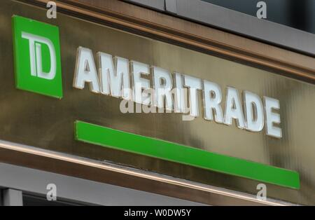 The TD Ameritrade sign is seen on their branch in Washington on August 22, 2007. Shares of TD Ameritrade Holding Corp rose after a report said the online broker has been discussing a possible merge with E-Trade Financial Corp. (UPI Photo/Kevin Dietsch) - Stock Photo