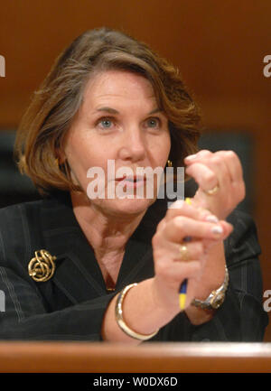 Nancy Nord, acting Chairman of the Consumer Product Safety Commission, testifies before a Senate Finance Services and General Government Subcommittee hearing on toy safety standards in Washington on September 12, 2007. (UPI Photo/Kevin Dietsch) - Stock Photo