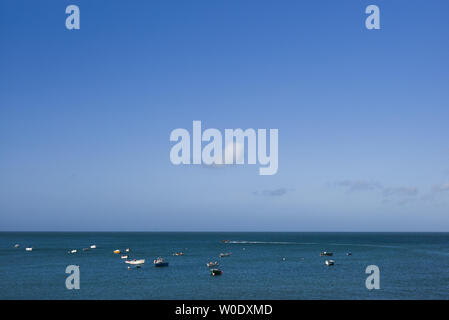 boats off Port Racine, Manche, Cotentin, France - Stock Photo