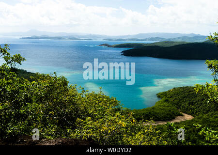 View from the lighthouse of the Caravelle's peninsula, Martinique, France - Stock Photo
