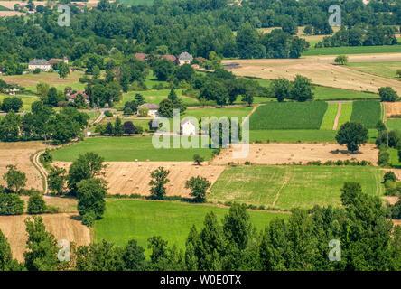 France, Lot, vallée de la Bave, view from the Château de Castelnau-Bretenoux (Camino de Santiago) - Stock Photo