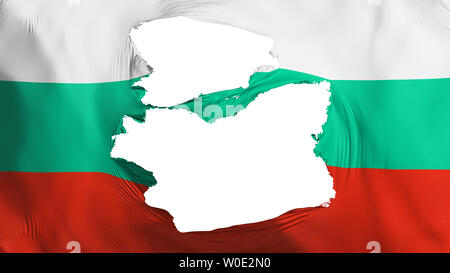 Tattered Bulgaria flag, white background, 3d rendering - Stock Photo