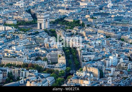 France, 16th arrondissement of Paris, view from the Eiffel Tower (Arc de Triomphe de l'Etoile, Avenue d'Iena) - Stock Photo