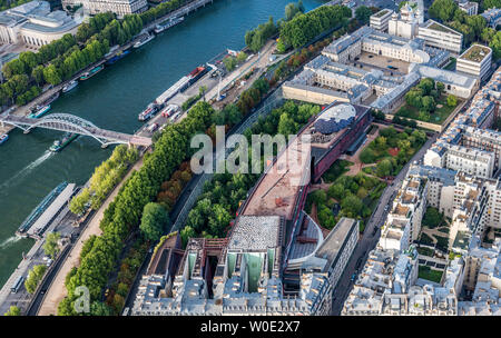 France, 7th arrondissement of Paris, view from the Eiffel Tower (musee du quai Branly, Holy Trinity Orthodox Cathedral) - Stock Photo