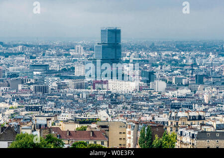France, 18th arrondissement of Paris, view from the Dome of the Basilica of the Sacred Heart of Paris (Clignancourt district and new Clichy-Batignolles courthouse) - Stock Photo