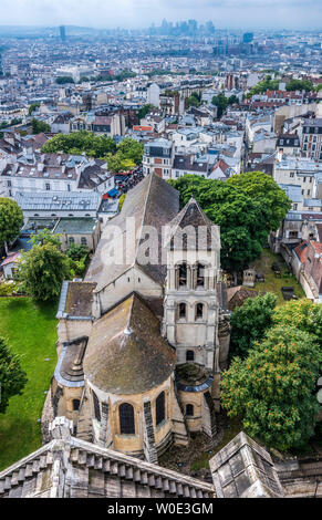 France, 18th arrondissement of Paris, Church of Saint Peter of Montmartre seen from the Dome of the Basilica of the Sacred Heart of Paris - Stock Photo