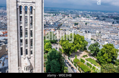France, 18th arrondissement of Paris, detail of the campanile, view from the Dome of the Basilica of the Sacred Heart of Paris toward north-east - Stock Photo