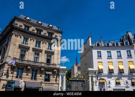 France, 8th arrondissement of Paris, place Beauvau, buildings and entrance of the French Minister of the Interior - Stock Photo