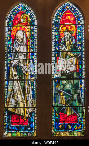France, 18th arrondissement of Paris, Butte Montmartre, church of Saint Peter of Montmartre, stained-glass windows of Saint-Benoit and Saint-Ignace by Max Ingrand - Stock Photo