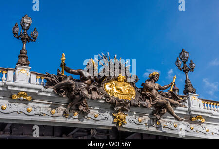 France, 7th and 8th arrondissements of Paris, decor of the pont Alexandre III over the Seine river - Stock Photo