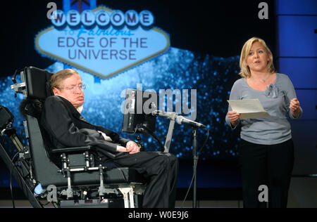 Stephen Hawking, astro-physicist and professor at the University of Cambridge, and his daughter Lucy deliver a lecture entitled 'Why We Go into Space' as a part of a lecture series honoring NASA's 50th Anniversary, at the George Washington University in Washington on April 21, 2008. Hawking spoke on the benefits of space travel and said we should be actively perusing a colony on the moon and a manned Mars mission.  (UPI Photo/Kevin Dietsch) - Stock Photo