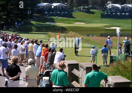 Stuart Appleby hits off of the 10th tee box during a practice round at the AT&T National hosted by Tiger Woods at the Congressional Country Club in Potomac, Maryland on July 2, 2008. (UPI Photo/Kevin Dietsch) - Stock Photo