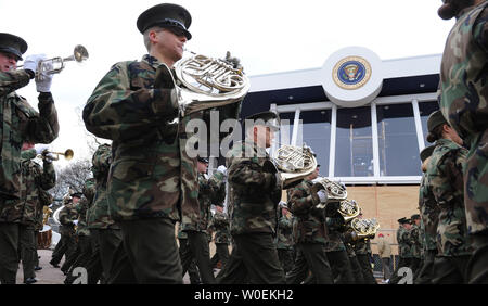 A military band plays as it walks past the Presidential viewing stand during a dress rehearsal for the Inaugural parade in Washington on January 11, 2009. President-elect Barack Obama will take the oath of office and become the 44th president of the United States on January 20, 2009. Millions are expected in Washington for the event. (UPI Photo/Kevin Dietsch) - Stock Photo