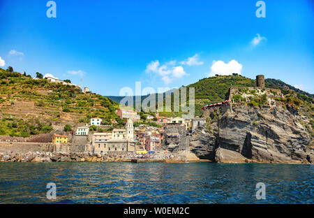Vernazza, Cinque Terre, Liguria, Italy - 09 August 2018 - View of the village from the sea - Stock Photo