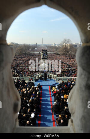 Barack Obama delivers his Inaugural Address after he was sworn in as the 44th President of the United States of America during his Inauguration Ceremony on Capitol Hill in Washington on January 20, 2009.    (UPI Photo/Roger L. Wollenberg) - Stock Photo