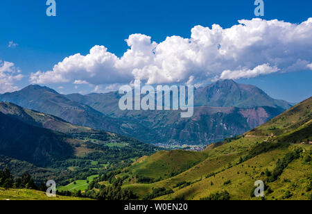 France, Hautes-Pyrénées, view on the Vallée d'Aure from the Col de Val Louron-Azet (road of the Pla d'Adet de Saint Lary-Soulan) - Stock Photo