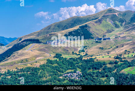 France, Hautes-Pyrénées,The village of Germ and Peyragude ski station seen from the Col de Val Louron-Azet - Stock Photo