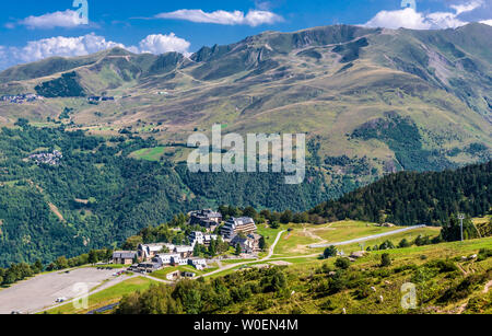 France, Hautes-Pyrénées,The village of Germ and Peyragude ski station seen from the Col de Val Louron-Azet (1580 meters high) and the hillside of the Vallée de Luchon (Haute Garonne) - Stock Photo