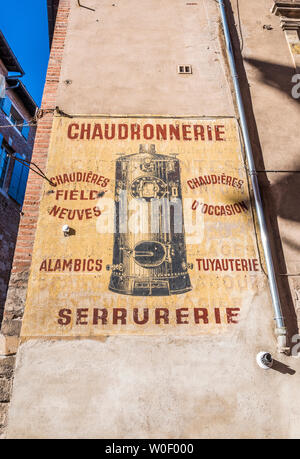 France, Tarn, Albi, episcopal city (UNESCO World Heritage) (Saint James way), ghost sign on an old wall Rue Roquelaure - Stock Photo