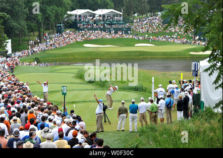 Lucas Glover hits off of the 10th tee box during the first round of the AT&T National hosted by Tiger Woods at Congressional Country Club in Potomac, Maryland on July 2, 2009. (UPI Photo/Kevin Dietsch) - Stock Photo