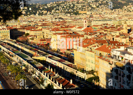 France, Alpes Maritimes, Nice,old town and Promenade des Anglais - Stock Photo