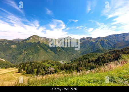Landscape, view of the slopes and mountains around the ski resort Guzet-snow in summer. Couserans-Pyrenees, Ustou Valley, Ariège, Occitanie, France - Stock Photo
