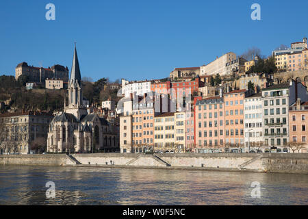 Saint Georges Church and Saint Georges district, 5th arrondissement of Lyon, France - Stock Photo