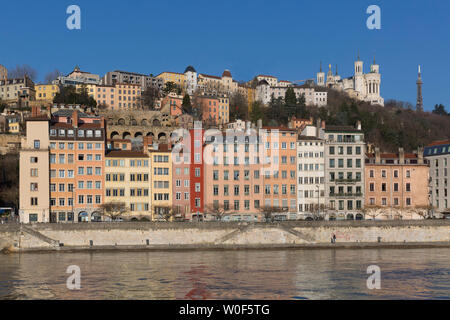 Basilica of Fourviere and colorful facades of Saint Georges district, 5th arrondissement of Lyon, France - Stock Photo