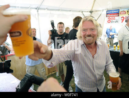 Virgin Records creator and owner Richard Branson passes out free drinks to patrons at the Virgin Mobile Freefest in Columbia, Maryland on August 30, 2009.  UPI/Alexis C. Glenn - Stock Photo