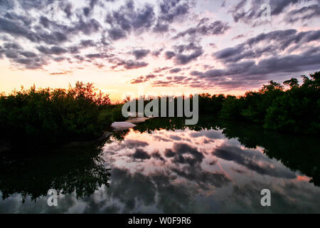 USA. Florida. Fort Myers beach, Lovers Key State Park. Dusk. - Stock Photo