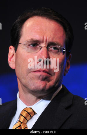 Randall Stephenson, Chairman, President and CEO of AT&T Inc, speaks on education reform as he participates in a CEO roundtable on rebuilding global prosperity, in Washington on November 17, 2009.   UPI/Kevin Dietsch - Stock Photo
