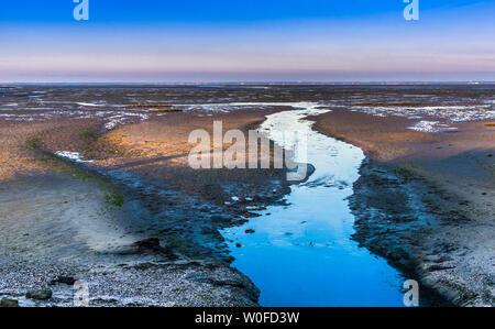 France, New Aquitaine, Arcachon Bay, La Teste de Buch, Bordes salt marsh at low tide - Stock Photo