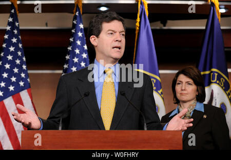 Sen. Sam Brownback (R-KS) speaks on the health care reform bill and the possibility that the bill could provide public funding for abortions, in Washington on March 18, 2010. Brownback was joined by Rep. Cathy McMorris Rodgers (R-WA).  UPI/Kevin Dietsch - Stock Photo