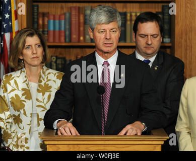 Rep. Bart Stupak (D-MI) speaks on an executive order that prohibits government funding for abortions during a press conference on Capitol Hill in Washington on March 21, 2010. Stupak said with this agreement the House now has enough votes to pass the heath care reform bill   UPI/Kevin Dietsch - Stock Photo