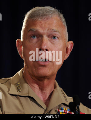 Gen. James Conway, Commandant of the U.S. Marine Corps, speaks during the Navy League Sea-Air-Space Exposition at National Harbor, Maryland, on May 3, 2010.   UPI/Roger L. Wollenberg - Stock Photo