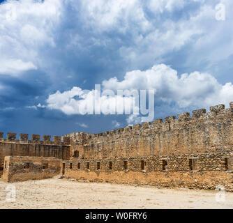 Greek castles.Frangokastello (Fragokastello). The castle was built by the Venetians in 1371-74 as a garrison to impose order on the rebellious Sfakia - Stock Photo