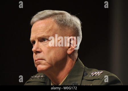 Gen. James Amos testifies before the Senate Armed Services Committee during his hearing reappointment hearing to be commandant of the Marine Corps. in Washington on September 21, 2010.   UPI/Kevin Dietsch - Stock Photo