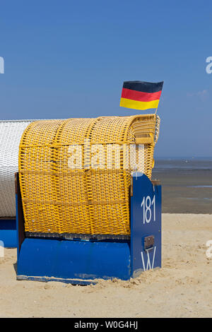 basket chair, Duhnen, Cuxhaven, Lower Saxony, Germany - Stock Photo