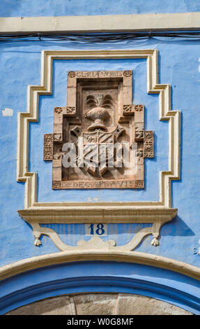 Family coat of arms at Casa de Los Navarro de Arzuriaga, Calle Azagra in Albarracin, Teruel province, Aragon, Spain - Stock Photo