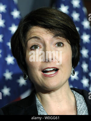 Rep. Cathy McMorris Rodgers, R-WA, discusses President Obama's jobs bill after a House Republican conference meeting on at the Republican National Committee's headquarters in Washington on September 13, 2011.       UPI/Roger L. Wollenberg - Stock Photo