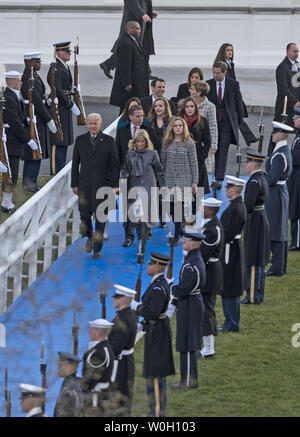 Vice President Joe Biden, Dr. Jill Biden  and family walk towards  the presidential viewing stand in front of the White House during President Barack Obama's second inauguration in Washington, DC, January 21, 2013.    UPI/Mannie Garcia - Stock Photo