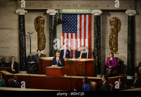 President Barack Obama delivers his State of the Union address during a joint session of Congress on February 12, 2013 at the U.S. Capitol Building in Washington, DC. UPI/Kevin Dietsch - Stock Photo