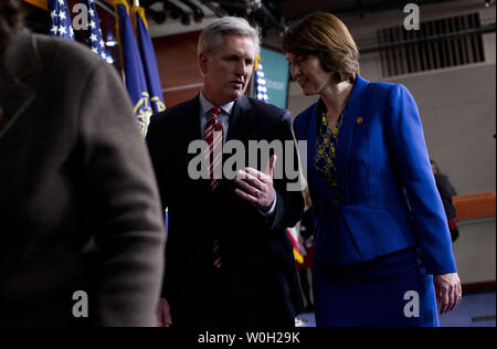 House Majority Whip Kevin McCarthy (R-CA) talks to Rep. Cathy McMorris Rodgers (R-WA) following during a press conference after President Obama met with the House Republican Conference on Capitol Hill on March 13, 2013 in Washington, D.C.  UPI/Kevin Dietsch - Stock Photo