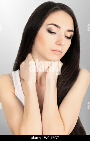 Body Pain. Beautiful Woman Feeling Pain In Shoulders And Arms - Stock Photo