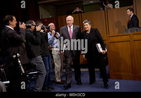 Senate Judiciary Committee Chairman Patrick Leahy (D-VT) escorts Homeland Security Secretary Janet Napolitano to her seat prior to a Senate Judiciary Committee hearing on border security and the Immigration Modernization Act, on April 23, 2013 in Washington, D.C.  UPI/Kevin Dietsch - Stock Photo