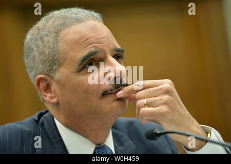 Attorney General Eric Holder testifies during a House Judiciary Committee hearing on Judicial oversight on May 15, 2013 on Capitol Hill in Washington, D.C. UPI/Kevin Dietsch - Stock Photo