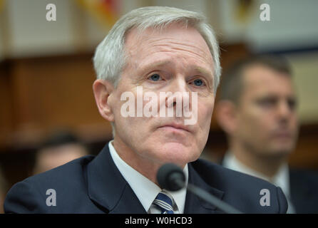 Secretary of the Navy Ray Mabus testifies  during a House Armed Services Committee hearing on the FY2015 national defense authorization budget request from the department of the navy, on Capitol Hill on March 11, 2014 in Washington, D.C. UPI/Kevin Dietsch. - Stock Photo