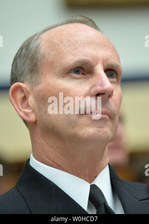 Chief of Naval Operations Adm. Jonathan Greenert testifies during a House Armed Services Committee hearing on the FY2015 national defense authorization budget request from the department of the navy, on Capitol Hill on March 11, 2014 in Washington, D.C. UPI/Kevin Dietsch. - Stock Photo