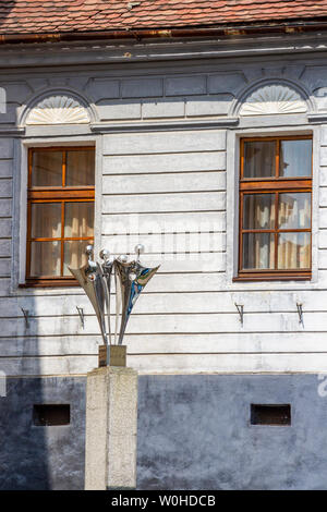 MEDIAS, ROMANIA - AUGUST 28, 2017: Sculpture called Hora at George Enescu Square in Medias, Sibiu County, Transylvania, Romania - Stock Photo